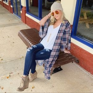 LAST ONE! Navy Plaid Open Cardigan